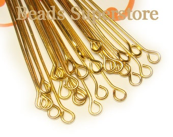 SALE 2 Inch (50 mm) Gold-Plated Eye Pin - Nickel Free and Lead Free - 100 pcs (EP2G)