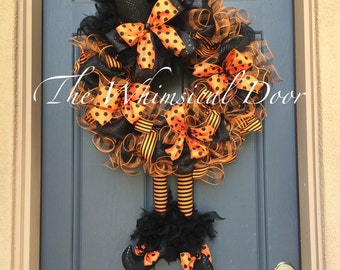 Halloween wreath Witch Wreath Witch Hat and Boots Halloween Wreath Orange and Black Witch Wreath HUGE