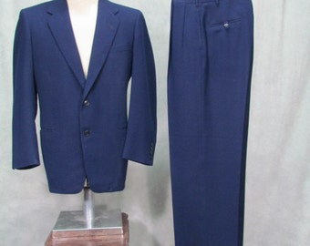 1950s Suit Vintage Swing Pants Navy Blue Wool Suspender Waist Size 38R