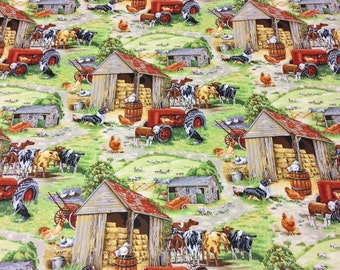 Patchwork Quilting Fabric Nutex In the Country - Farm Scenic