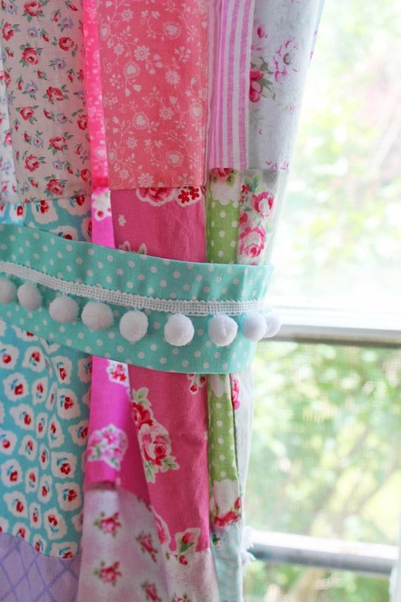 Curtain Tie Backs Pom Pom Trim Aqua Blue Polka Dots Cottage