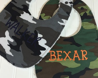 Camouflage Baby Bib - Boutique Baby or Toddler Bib - Camouflage Nursery - Triple Layer Chenille, drool bib,