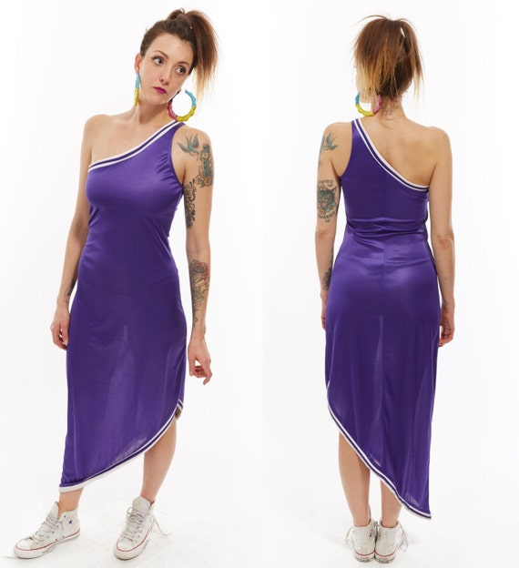 Vtg 90s BASKETBALL JERSEY One Shoulder ASYMMETRICAL Maxi Party Dress Retro Hip Hop Club Kid Raver Sporty Spice Kitschy Slinky Sexy Novelty