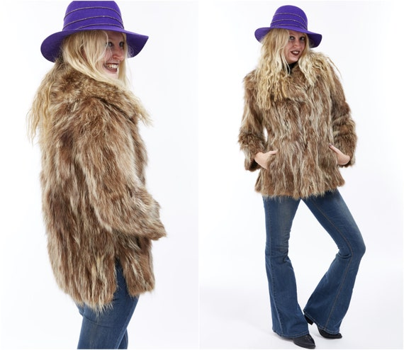 Vtg 70s 80s Genuine RACCOON PIECES Shaggy Fur COAT Fuzzy Furry Cropped Jacket Glam Boho Disco Rockstar Retro Mod Avant Garde Statement Soft