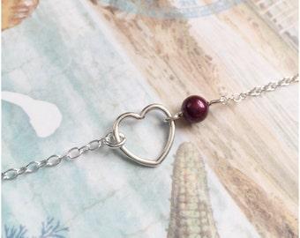 Sterling Silver Open Heart Necklace - Sterling Silver Heart and Pearl Necklace - Simple Heart Jewelry Custom Pearl Necklace Swarovski Pearl