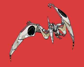 Pterodactyl Robosaur art print 5x7