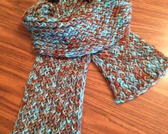 Knit blue/brown scarf
