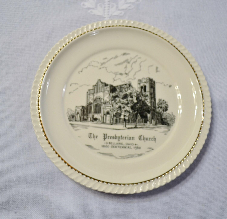 Vintage Decorative Plate The Presbyterian Church Bellaire Ohio