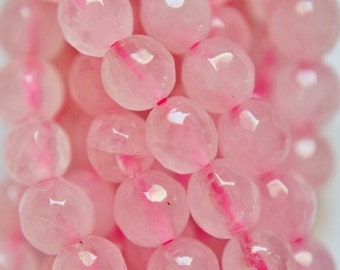 "Natural Faceted Rose Quartz beads - Round 6 mm beads, Gemstone Beads - Full Strand 15 1/2"", 62 beads, A-Quality"