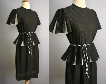 Vintage 80s Secretary Dress 80s Does 40s Dress MOD Dress Pinup Dress Retro ROCKABILLY Black White Polka Dot Print Pleated Peplum Midi Skirt