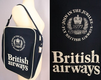 Vintage 1970s British Airways Carry On Bag Shoulder Bag | Vintage BA Luggage Suitcase | Queen's Jubilee | Vintage Travel Flight Bag
