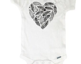 Baby Onesie - Feathers Heart Bohemian - Bodysuit Baby Shower Gift Feathers Onesie Feathers Boho Hipster 4210