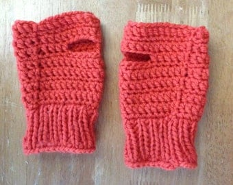 Red-orange Wrist Warmers (has a matching neckwarmer sold seperately)