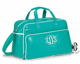 5 - Personalized Retro turquoise Weekender Bag, monogrammed  adjustable shoulder straps, accent piping, in 4 colors. Bridesmaid gift