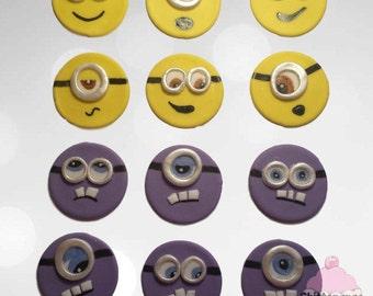 Fondant Minion Cupcake Toppers