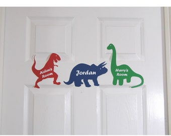 Personalised Door Name Sign Plaque Children\u0027s Dinosaur Bed Room Sign Boys Girls & Dinosaur door sign | Etsy Pezcame.Com