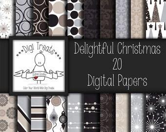 30% OFF Delightful Christmas, Digital Scrapbook Paper, 12x12, Christmas paper, Scrapbooking, Card Making, *Instant Download*