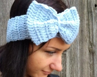women blue Headband, Crochet Headband Bun Earwarmer Head Wrap blue winter headband women headband