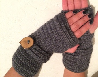 Ready to ship! gray women Fingerless gloves, gray Crocheted Fingerless Gloves with a button Mittens arm warmers