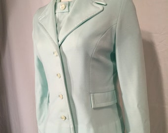 Vintage Small S Pale Green Drop Waist Pleated Dress and Jacket Roberta Lee Original 70s Seventies