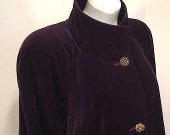 Vintage Purple Passion Portrait Velvet Swing Coat Small S Size 8 de Ball Velvet 3 Button 80s Eighties