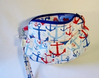 Nautical Gadget Pouch, Smart Phone Case, Red White and Blue, Zipper Bag, Handcrafted, Cosmetic bag, Makeup Bag, Clutch Wristlet