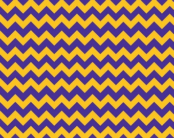 Half Yard Small Holiday and School Colors Chevron - Purple / Gold - Cotton Quilt Fabric - C400-06 - Riley Blake Designs (W3326)