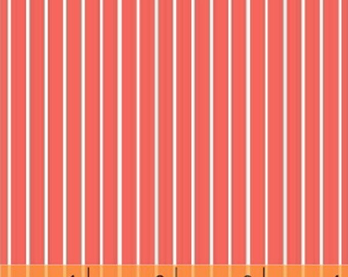 One Yard Citrus - Small Stripe in Coral - Cotton Quilt Fabric - by Another Point of View for Windham Fabrics - 37515-6 (W3070)
