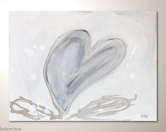 """Cheap heart fine art painting on watercolor paper: """"Modern love"""" -12x9 inches. Original abstract art,wall hanging for frame"""