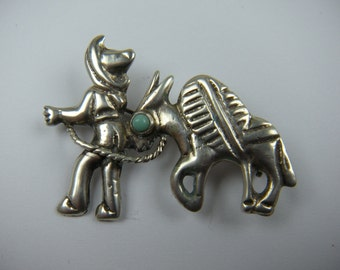 Sterling Silver Figural Brooch Man with Burro
