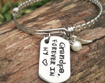 Hand Stamped Aluminum Dog Tag Bracelet ~ Grandpa Remembrance ~ stainless steel bangle