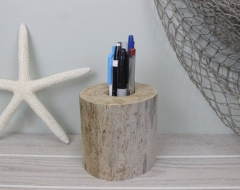 Driftwood Pen and Pencil Holder, Desk Accessory, Office Gift, Father's Day Gift