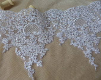 "WHITE Floral Lace Bridal Veil Alencon Lace Trim Bridal Wedding Gown Fabric 8.9"" Wide one yard"