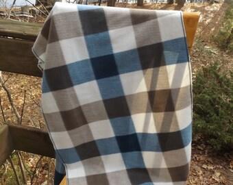Blue and Brown Plaid Fleece Shawl Scarf, Head Scarf, Warm Wrap, Head Wrap