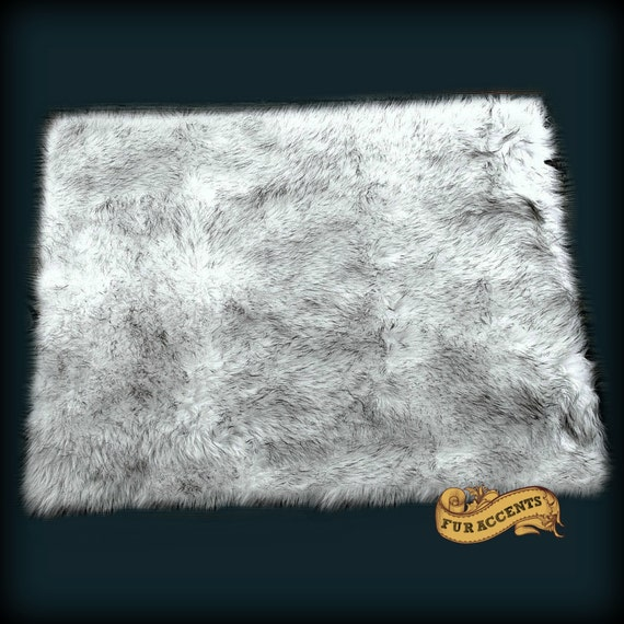 Exotic Animal Faux Fur Throw Rug Arctic Fox Russian Wolf
