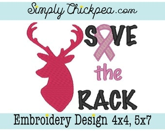Embroidery Design - Save the Rack Breast Cancer Awareness - Ribbon - For 4x4 and 5x7 Hoops