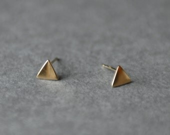 Gold Triangle Stud Earrings - Gold plated over Sterling Silver