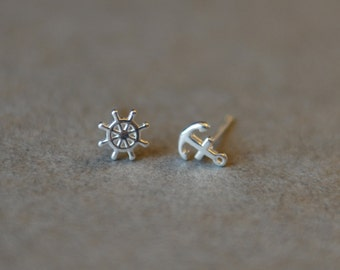 "Anchor & Ship Wheel "" SILVER"" Sterling Silver, Studs"