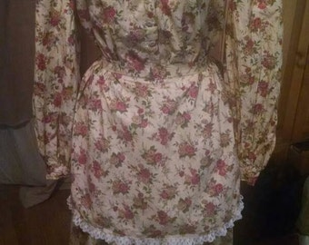 Civil war afternoon dress Victorian reenactment  womens modest costume and hat pioneer frontier