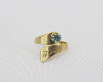 Vintage Jewelry Gold Tone Aquamarine March Birthstone Adjustable Ring Size 6.5