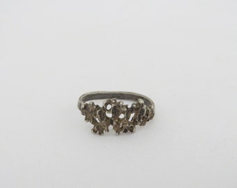 Vintage Sterling Silver Nugget Ring Size 7.25