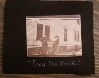 Vintage Photo Album Page..WW I Sailor and U.S. Army Soldiers Clowning Around 1919, Original Photos, Old Photo Snapshot, Military History