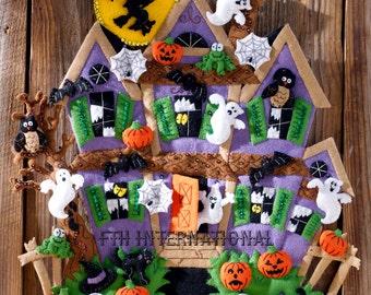 Bucilla Haunted House ~ Felt Halloween Wall Hanging Kit #86560 Witch Ghosts Bats DIY