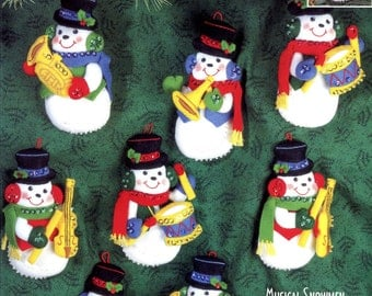 Bucilla Musical Snowmen ~ 8 Pce Felt Christmas Ornament Kit #83409, Drums Horns DIY