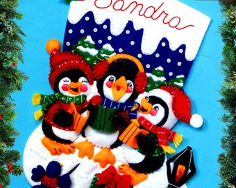 Christmas Caroling ~ 15″ Bucilla Felt Christmas Stocking Kit #83282 DIY