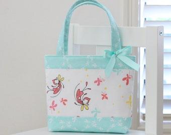 Little Girls Bag / Tote Bag / Girls Bag / Kids Bag - Butterfly Dance Mint