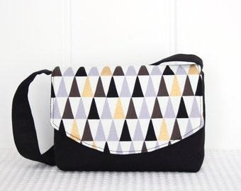 Little Girls Bag / Shoulder Bag / Handbag / Kids Bag / Black Geometric