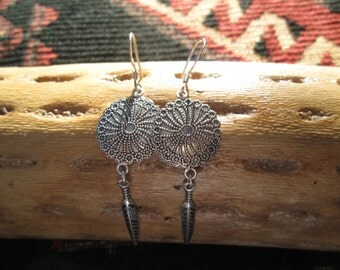 Sterling Silver Concho and Feather Earrings
