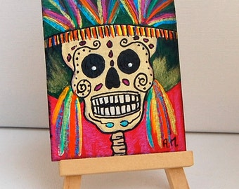 Day of the Dead. ORIGINAL ACEO Card.Painting. Skull Catrinas . Miniature Art ACEO. Artist Trading Card
