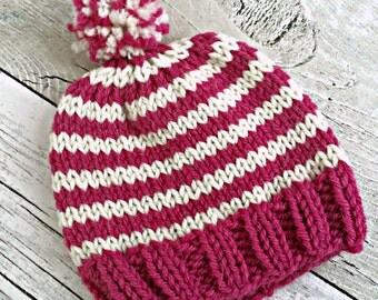 Newborn Hat, Preemie Girl Hat, Baby Pom Pom Hat, Newborn Hospital Hat, Coming Home Outfit Hat, Newborn Beanie Girl Baby Shower Gift